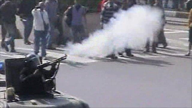 Police firing tear gas