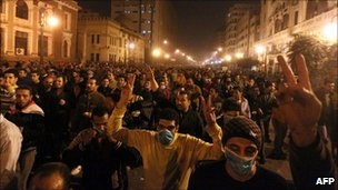 Protesters in Cairo, 28 January 2011