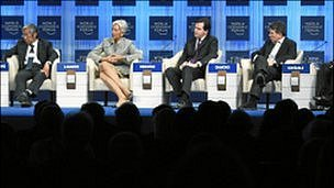 Mr Osborne (second right) sits between Christine Lagarde and Bob Diamond at Davos