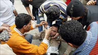 Injured demonstrator, Cairo (29 January 2011)