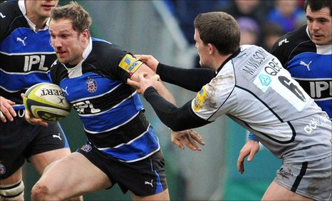 Bath's Brian McMillan is tackled