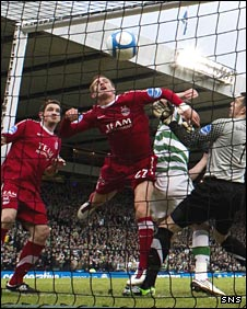 Charlie Mulgrew's header enters the Aberdeen net