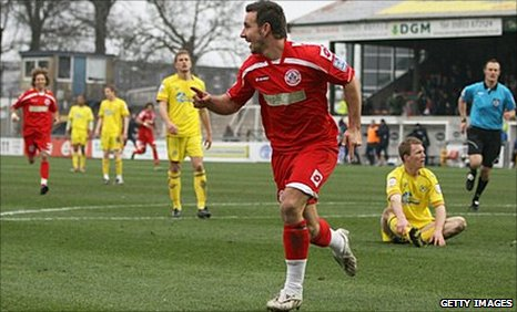 Matt Tubbs celebrates after scoring for Crawley