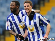 Jones and Potter celebrate Sheffield Wednesday's equaliser