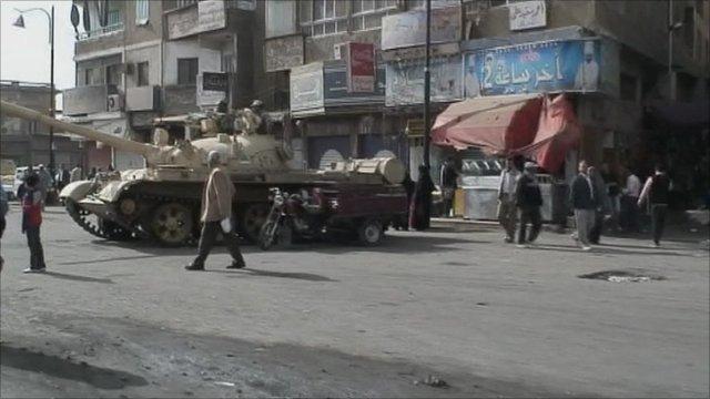 Tank on street in Egypt
