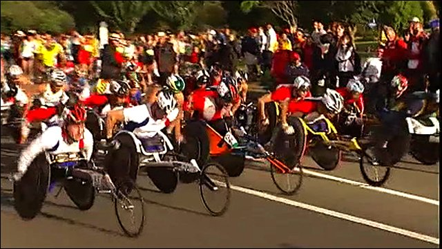 The start of the paralympic marathon