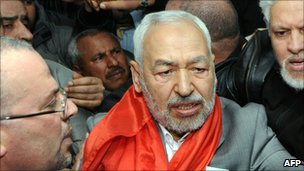 Rachid Ghannouchi arriving back in Tunisia 30 Jan 2011