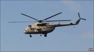 Military helicopter over Cairo (30 Jan)