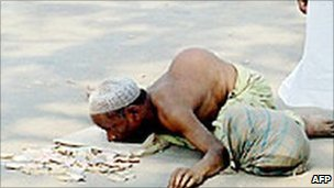 A beggar in Bangladesh. File photo
