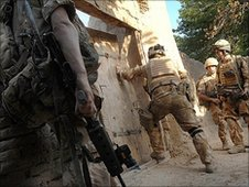 British soldiers on patrol in Sangin