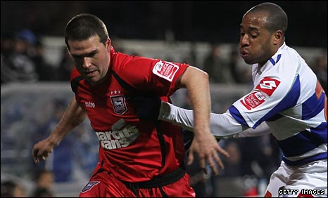 David Healy (left) in action for Ipswich