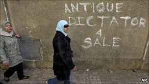 Anti-government protesters walk past wall graffiti reading Antique dictator 4 sale, Cairo, Egypt, 30 January 2011