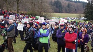 Protesters at Grizedale Forest