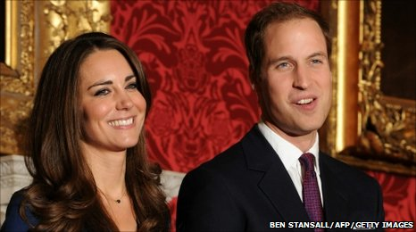 Prince William and his fianc�e Kate Middleton announce their engagement