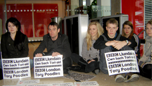 Welsh language protesters at BBC Wales