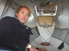 James Adair in cabin