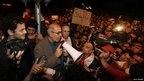 Opposition leader Mohamed ElBaradei speaks to demonstrators in Tahrir Square - 30 January 2011