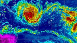 Satellite image shows Cyclone Yasi passing the Solomon Islands and Vanuatu on 31 Jan 2011