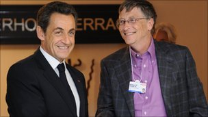 Nicolas Sarkozy and Bill Gates