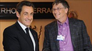 Nicolas Sarkozy and Bill Gates