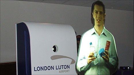 Holographic announcers at Luton airport