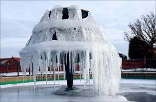 Frozen fountain in Nottinghamshire