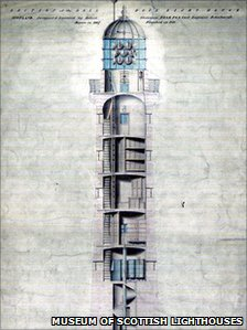 A Robert Stevenson drawing of the interior of the Bell Rock Lighthouse