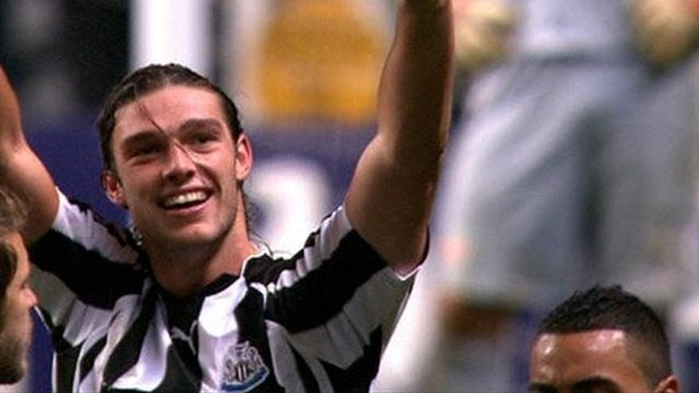 Andy Carroll celebrates scoring for Newcastle against Liverpool