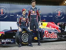 World champion Sebastian Vettel and team-mate Mark Webber unveil the new RB7