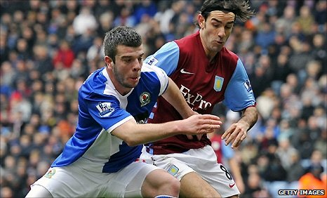 Blackburn defender Grant Hanley in action against Aston Villa