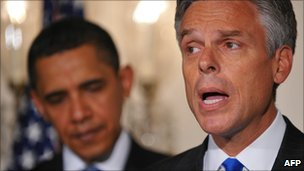File image of Jon Huntsman speaking on 16 May 2009 as US President Barack Obama looks on