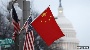 US and Chinese flags fly in Washington on 18 January 2011