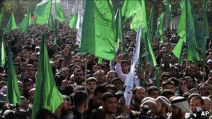 Hamas supporters rally in the Gaza Strip - 28 January 2011