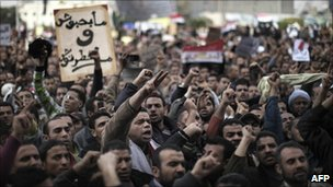 Protesters in Tahrir Square, Cairo - 1 February 2011