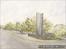 Drawing of the slate sculpture planned for Blaenau ffestiniog
