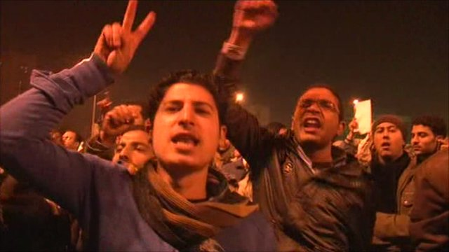 Protesters watch Mubarak's speech