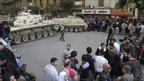 Armoured vehicles and protesters near Cairo's Tahrir Square - 1 February 2011