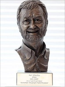 The bronze sculpture of the late Ray Gravell