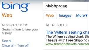 Screenshot of Bing search