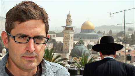 Louis Theroux in Jerusalem's Old City, overlooking the Dome of the Rock and the Temple Mount