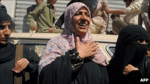 Tawakul Karman joins a protest calling for President Ali Abdullah Saleh to step down, in the capital Sanaa 29/01