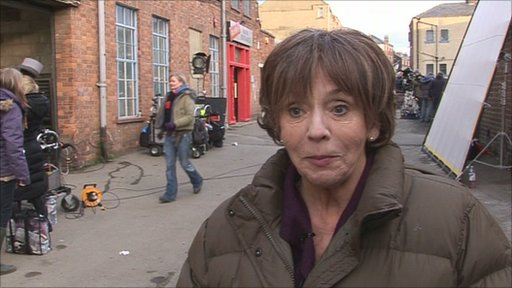 Sue Johnston filming in Filey
