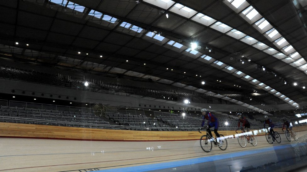 Cyclists Try Out The Track At Olympic Velodrome Park Stratford