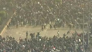 Screen grab of scuffles on Tahrir Square, Cairo, 2 February 2011