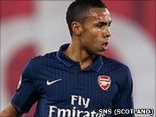 Kyle Bartley in action for Arsenal against Olympiakos