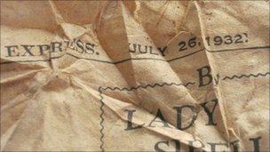 Newspaper found at Redgrave church