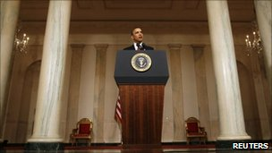 President Obama giving a statement in the Grand Foyer of the White House