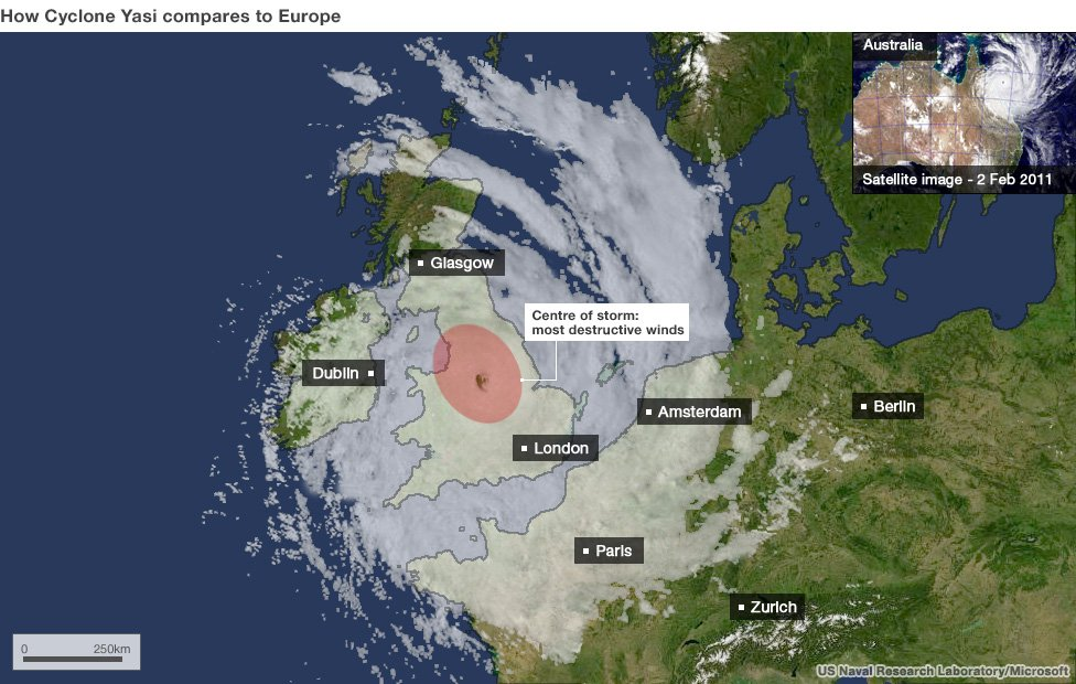 Map showing how Cyclone Yasi compares in size to Europe