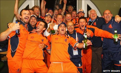 Netherlands celebrate victory over England in the 2009 World Twenty20