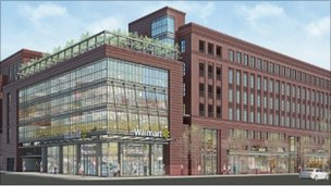 Rendering of a proposed Wal-Mart store in Washington DC